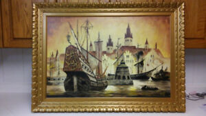 Antique seascape ship battle oil painting