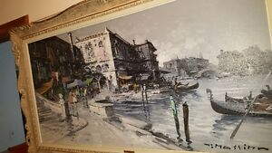 Gorgeous large 48x24 Oil on Canvas painting view of Venice West Island Greater Montréal image 2