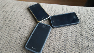3 black Iphone 4 with protective case