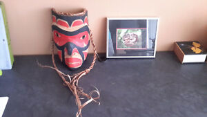 Carved Native Mask and small print