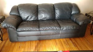 Black Leather Sofa and matching Love Seat