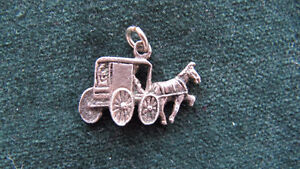 Horse & Buggy coach silver charm