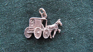 Horse & Buggy coach silver charm