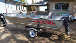 16' aluminum Lund Boat with 25 hp Outboard and Trailer