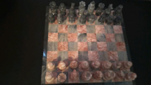 Pink & Grey Marble Chess Set