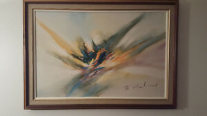 Signed Oil Painting w Solid wood frame and fabric trim
