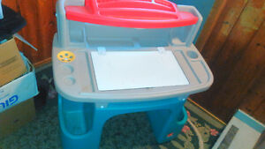 kids desk and princess suitcase