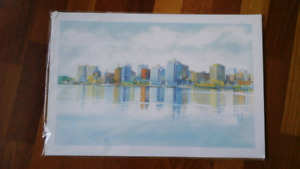 Very pretty watercolor print of Halifax Skyline