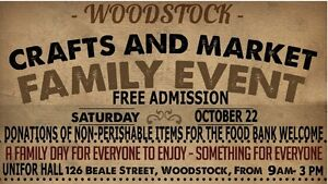 Vendors for a Craft Show: Oct. 22 Woodstock
