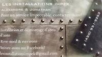 INSTALLATIONS / DÉMONTAGE D'ABRIS D'AUTO (TEMPO)