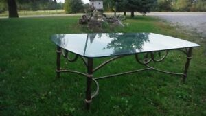 Wrought Iron Glass Coffee and End Table