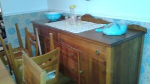 free antique dining table/chairs and hutch