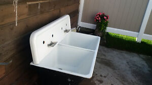 Antique enamel double sink for sale