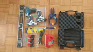 12 volt makita, 12 volt milwaulkee, clamp, level, charger, saw