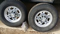 GM 2500HD PAIR of 8 BOLT MAGS + WINTER TIRES 245 75 16