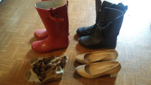 4 pairs of shoes & boots size 9 new or like new