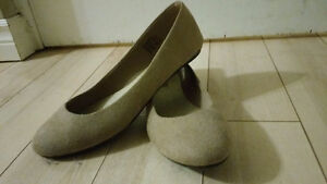 Nude Suede Flats - Size 10 Womens