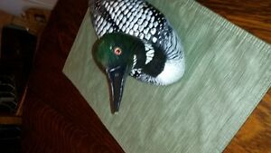 reduced vintage hand carved & painted wood loon decoy, signed Cambridge Kitchener Area image 4