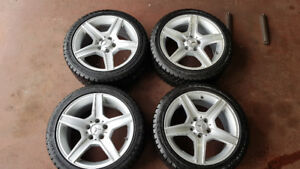 225/45/17 Winter tires on original Mercedes Benz rims. Excellent