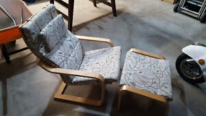 Ikea Poang lounge chair with foot stool