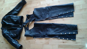 leather jacket xl and chaps for biking like new