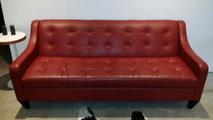 Lars red leather couch
