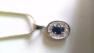 Diamond and sapphire ring, earings, neckless set