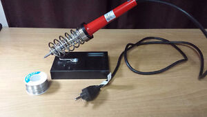 40W Soldering Iron + stand + full roll (100g) of solder