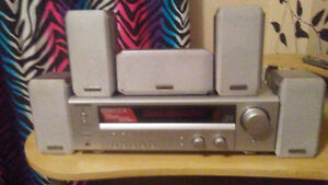 Kenwood reciever with 5 speakers plus sub and speaker stands