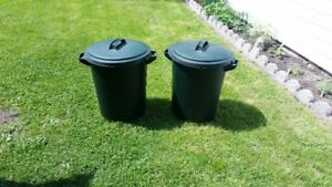 2 Rubbermaid Storage Bins, Green