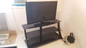 "TOSHIBA 40"" LCD 1080P HDTV + GLASS TV STAND!"