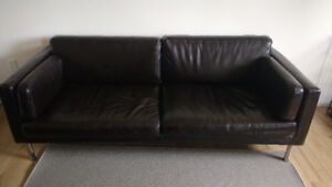 Ikea Brown Leather Couch for Sale
