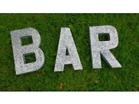 Silver glitter sequin BAR letters, wedding or event decor