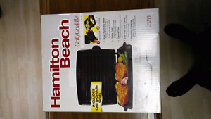 NEW UNUSED HAMILTON BEACH GRILL/GRIDDLE/BBQ