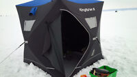 Kingfisher 3 Ice Fishing Shelter, Auger, Rods