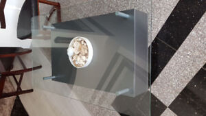 Glass Coffee Table with Wheel