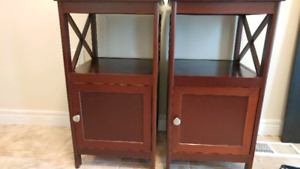 Tall brown wood side tables