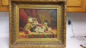 Beautiful antique Dutch oil painting of kittens