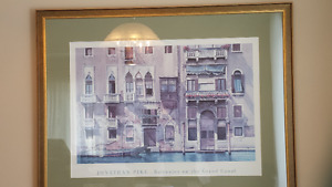 Large Antique Gold Frame with Mat and Print