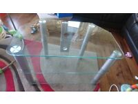 Silver tv stand with clear glass