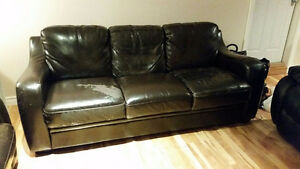 FREE!! Faux leather couch for pick up