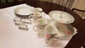 Two Tier Server, plates, napkin rings, mugs   all for $30