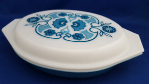 VINTAGE PYREX DIVIDED DISH BLUE HORIZON