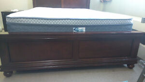 Queen bed frame and mattress set, night stand from Brick Edmonton Edmonton Area image 6