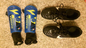 Nike Outdoor Soccer Cleats and Shin Pads