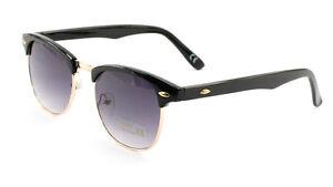 Classic-Retro-1980-s-Vintage-Black-Gold-Clubmaster-Sunglasses-Full-UV400-A4