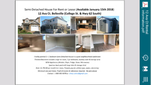 Semi-Detached House For Rent - Available Feb. 01. 2018