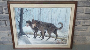 WOLF PAINTING ACRYLIC WINTERSCAPE WOLVES