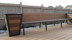 Custom made patio set of 2 benches and 2 planters
