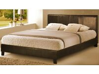 Double brown leather faux bed